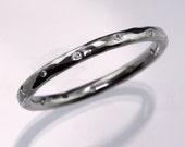 Skinny 12 Diamond Wedding Ring in Platinum, Palladium, White Gold, Rose Gold, Yellow Gold & Sterling Silver, Textured Womens Wedding Band