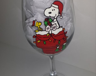 hand painted snoopy woodstock peanuts inspired christmas wine glass