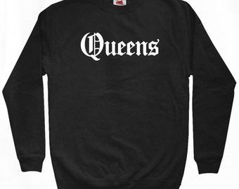 Queens Gothic Sweatshirt - NYC - Men S M L XL 2x 3x - New York City Crewneck - 4 Colors