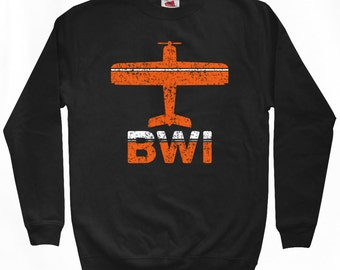 Fly Baltimore Sweatshirt - BWI Airport - Men S M L XL 2x 3x - B'more Crewneck - 2 Colors