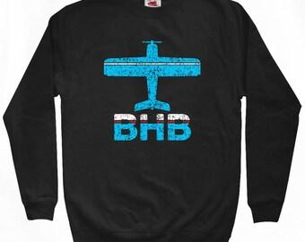Fly Bar Harbor Sweatshirt - BHB Airport - Men S M L XL 2x 3x - Maine Crewneck - 2 Colors