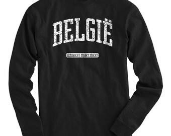 LS Belgie Tee - Long Sleeve Belgium T-shirt - Men and Kids - S M L XL 2x 3x 4x - Belgium Shirt, Belgian, Flemish, België - 4 Colors