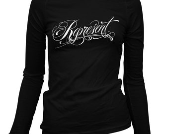 Women's Represent Long Sleeve Tee - S M L XL 2x - Ladies' T-shirt, Pride, Tattoo - 1 Color