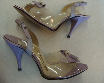 50's DREAM STEP SLINGBACK clear d'orsay kitten heels lavender 7.5