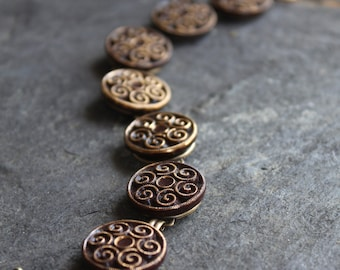 Antique Button Bracelet, Brown Czech Glass vintage buttons, victorian, assemblage, jewelry, gold, up cycled, recycled