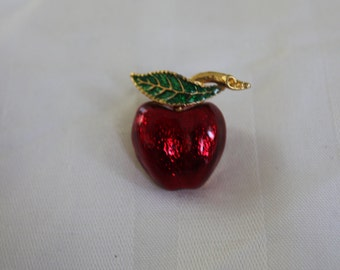 Enamel Apple Brooch
