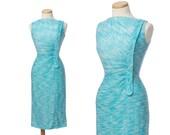 r e s e r v e d // vintage 50s dress // blue white LUREX silver chromespun gathered metallic cocktail dress