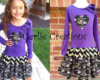 Girls Ravens Dress, Baltimore Ravens, Girls Dress, Purple Black Gold, Ravens, Football Dress - 3 Left 5 6 7