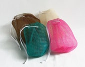 Mesh Soap Sack, Soap Saver, Soft Soap Scrubbie, Reusable, Refillable, Soft Scrubber, Exfoliating Mesh Bag, Soap Bag, Ivory, Teal, Pink Brown