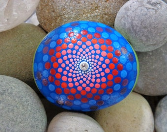 River stone mandala with Swarovski crystal