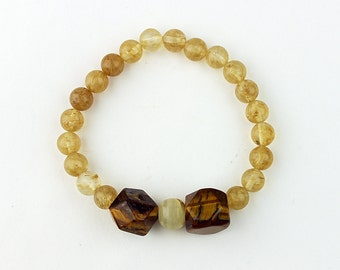 Citrine/Tiger's Eye Bracelet - FREE Shipping in USA - Natural Beaded Bracelet, Citrine, Tiger's Eye, White Agate Beads, PDX, Oregon 1226