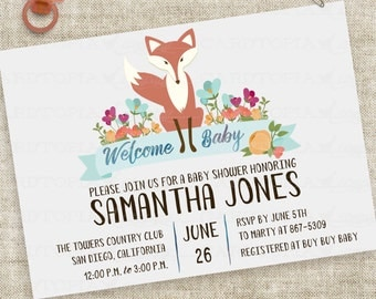 Baby Boy Fox Baby Shower Invitation with Blue Floral and Banner Watercolor Lettering Custom Digital File with Professional Printing Option