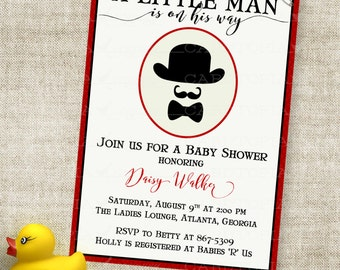 Little Man Baby Shower Invitation with Bowler Hat Bow Tie and Mustache Digital Printable File with Professional Printing Option