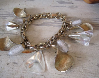 SALE Chunky 60s Semi Parure Charm Bracelet and Matching Earrings with Lucite Drops Bracelate