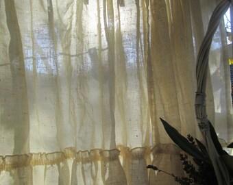 Valance Muslin and Lace Curtain  10 available Homespun Prairie Farmhouse Curtain