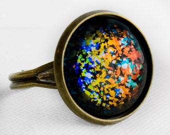 Molten Ice Ring in Antique Bronze - Rainbow Orange Blue Green Holographic Fleck Glitter Cocktail Ring