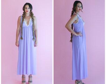 lavender maxi dress/ lace v neck empire waist dress/ 1970s/ small - medium