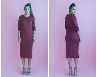 wine midi dress/ silk burgundy slip dress/ 1990s/ small - medium