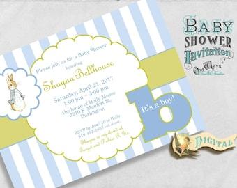 Peter Rabbit Baby Shower Invitation For A Boy In Blue U0026 Spring Green    Custom Printable