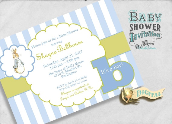 Peter Rabbit Baby Shower Invitation for a Boy in Blue and Green - Printable Custom Baby Boy Shower Invite - 4x6 or 5x7 Digital JPEG or PDF