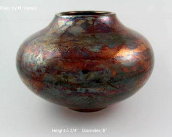 Raku-fired pottery