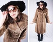 1960's Beige Faux Fur Coat / Size 8