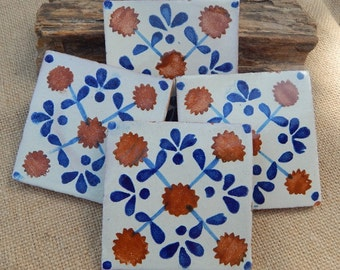 4 Authentic Handmade Mexican Tile  ~  Authentic Mexican Terra Cotta Tile  ~  Handmade Mexican Terra Cotta Tile  ~  4x4 Mexican Tile