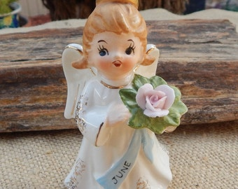 Lefton Exclusives June Angel with Rose  ~  Lefton June Angel with Rose  ~  June Angel Figurine  ~  Angel Figurine  ~  Lefton Angel Figurine
