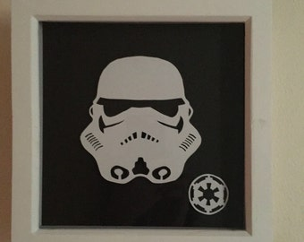 "Stormtrooper Papercut Shadowbox 9""x9"""