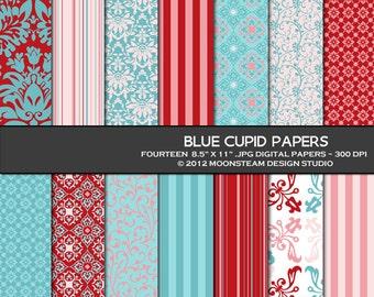 Blue, pink, red digital papers, digital backgrounds, digital scrapbooking papers, blue cupid digital paper pack, stripes, damask