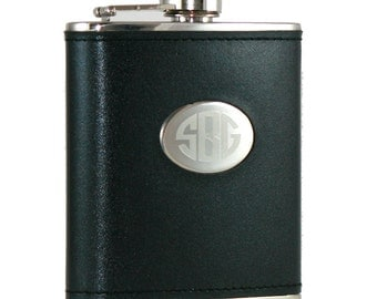6 ounce Hip Flask - Black -  Personalization included