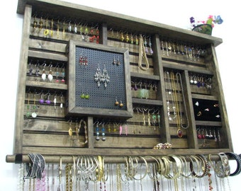 Dark Walnut Earring holder jewelry display
