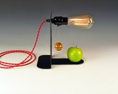 Accent lamp. Simple, clean, minimalist. Repurposed recycled bookend. Edison bulb. Red rayon cord. Modern Desk table lamp. #259