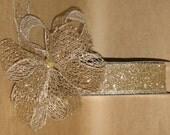 "New 1-1/2"" Gold Mesh Wired Ribbon 5 yards, Gold glitter Mesh Ribbon, Holiday Ribbon"