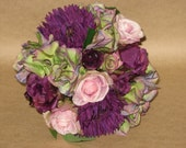 "New Artificial Eggplant Gerbera Daisy, Rose & Hydrangea Bouquet, 8"" in diameter, Eggplant Bridal Bouquet"