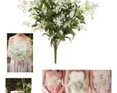"NWT Artificial Gypsophila Bouquets Silk Flowers Baby's Breath - 19"" in White"