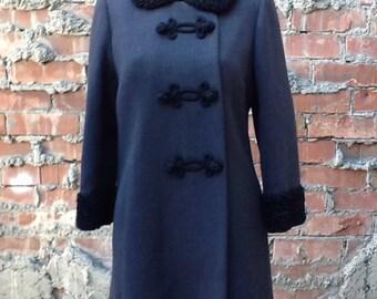 Vintage  Mod Charcoal Coat