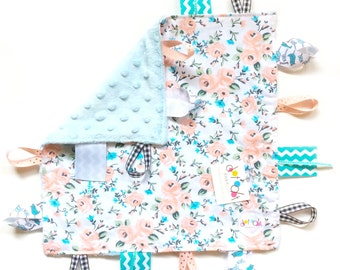 Georgia Peach - Baby Girl peach coral turquoise tag lovey sensory blanket toy with minky