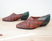 Vintage Dark  Green Leather Woven Multi-colord  Confetti POINTY Western Cowboy Flats Ankle Boots Shoes 7.5 8 M