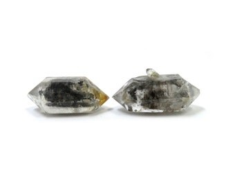 Tibetan Quartz Crystal 2 Raw Double Terminated Points 25mm x 11mm Natural Rough Stones (Lot 1212) Mineral Pair