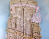 Bohemian skirt boho chic tattered skir tMori girl  festival lagenlook faerie ruffle skirt up cycled refashioned white gypsy skirt lace top