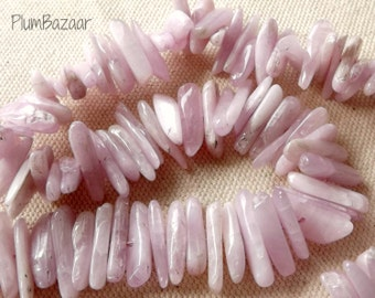 Kunzite stick beads, 16 inch strand of center drilled beads