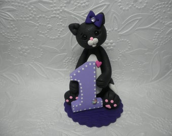 Baby Girl's First Birthday Black and White Kitty Cat/Kitten Cake Topper,Gift,Keepsake
