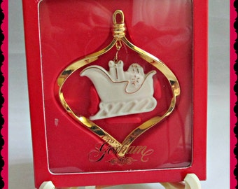 Gorham Christmas Ornament Porcelain Gold Sleigh Gift Boxed Vintage