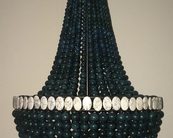 Dark Green & White Turquoise Empire Style Chandelier- Ready to Ship!!