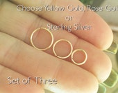 Nose, Tragus, Eyebrow Rings 3 rings Sterling, Rose or Yellow Gold