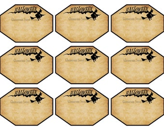 INSTANT DOWNLOAD, Halloween Labels, Witch Labels, Printable, Glamorous Sweet Events