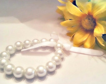 Girls or Adult Pearl Bracelets with Ribbon Bows, white pearl, satin ribbon