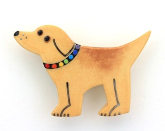 Golden Retriever Dog Pin Yellow Lab Brooch Handmade Ceramic by Sean Brown