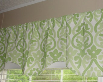 """READY TO SHIP Premier Prints Kiwi Green Double Damask Scalloped Valance 52"""" wide x 18"""" long Lined Green and White"""